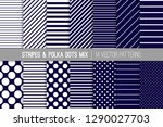 navy blue and white polka dots... | Shutterstock .eps vector #1290027703
