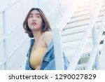 woman teenager portrait hipster ...   Shutterstock . vector #1290027829