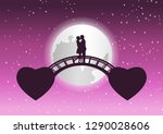 couple hug together and kiss on ... | Shutterstock .eps vector #1290028606