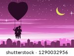 couple sit on swing that float... | Shutterstock .eps vector #1290032956