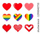 vector hearts set. isolated... | Shutterstock .eps vector #1290040753