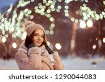 beautiful girl in light pink... | Shutterstock . vector #1290044083