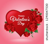 happy valentines day   red... | Shutterstock .eps vector #1290047530