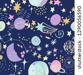 cartoon cosmic background  cute ... | Shutterstock .eps vector #1290056590
