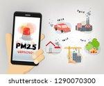 warning alert pm 2.5 in dust... | Shutterstock .eps vector #1290070300