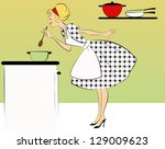 1950's housewife cooking dinner ...   Shutterstock .eps vector #129009623
