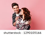 laughing man gently embracing... | Shutterstock . vector #1290105166