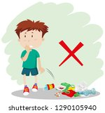 a boy throwing garbage on... | Shutterstock .eps vector #1290105940
