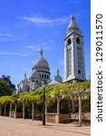 A view of the back of the Sacre Coeur Cathedral in Paris, France. - stock photo