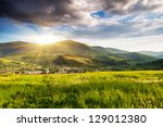majestic mountains landscape... | Shutterstock . vector #129012380