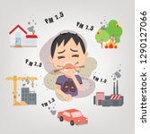 man cough with dirty lung...   Shutterstock .eps vector #1290127066