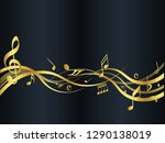 golden abstract music notes on... | Shutterstock .eps vector #1290138019