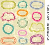 colorful labels set on aged... | Shutterstock .eps vector #129014048
