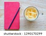 caramel macchiato coffee with...   Shutterstock . vector #1290170299