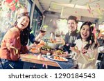 celebration party dinner with... | Shutterstock . vector #1290184543