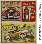 set of vintage car metal signs... | Shutterstock . vector #1290197539
