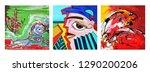 set of unusual  original art... | Shutterstock .eps vector #1290200206