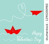 red origami paper boat and... | Shutterstock .eps vector #1290200983