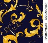 vintage baroque gold floral... | Shutterstock .eps vector #1290202900