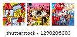 set of unusual original art... | Shutterstock .eps vector #1290205303
