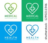 medical logo marks with hearts... | Shutterstock . vector #1290211546