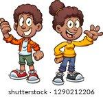 happy black cartoon kids waving.... | Shutterstock .eps vector #1290212206