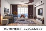 interior of the living room. 3d ... | Shutterstock . vector #1290232873