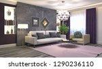 interior of the living room. 3d ... | Shutterstock . vector #1290236110