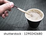cappuccino coffee in a glass of ... | Shutterstock . vector #1290242680