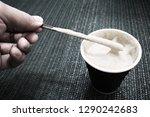 cappuccino coffee in a glass of ... | Shutterstock . vector #1290242683