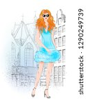 hand drawn beautiful young... | Shutterstock .eps vector #1290249739