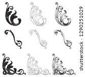 rococo vector set of vintage... | Shutterstock .eps vector #1290251029