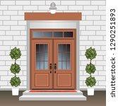 house door front with doorstep... | Shutterstock .eps vector #1290251893