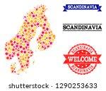 mosaic map of scandinavia... | Shutterstock .eps vector #1290253633
