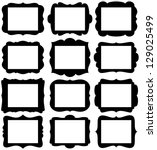 vector set of frame silhouettes ... | Shutterstock .eps vector #129025499