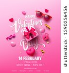 Stock vector valentine s day sale poster or banner with sweet gift sweet heart and lovely items on pink 1290256456