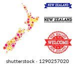 mosaic map of new zealand... | Shutterstock .eps vector #1290257020