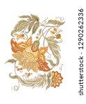 stylized ornamental flowers in... | Shutterstock .eps vector #1290262336