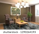 interior with chair. 3d...   Shutterstock . vector #1290264193