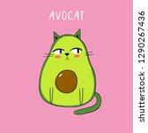 cartoon vector print with... | Shutterstock .eps vector #1290267436