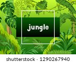 background with jungle plants.... | Shutterstock .eps vector #1290267940