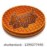 advertising caramel waffles....   Shutterstock .eps vector #1290277450