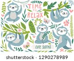 vector set of cute sloths ... | Shutterstock .eps vector #1290278989