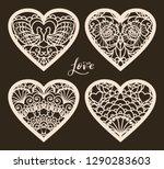 set of 4  valentine card or...   Shutterstock .eps vector #1290283603