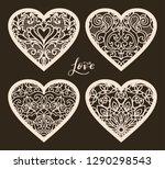 set of 4  valentine card or...   Shutterstock .eps vector #1290298543