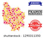 mosaic map of burgundy province ... | Shutterstock .eps vector #1290311350