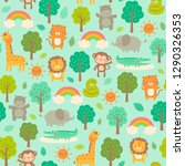 cute jungle animals with trees... | Shutterstock .eps vector #1290326353