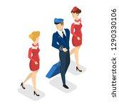 airplane crew in uniform going... | Shutterstock .eps vector #1290330106