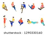 set of people using mobile... | Shutterstock .eps vector #1290330160