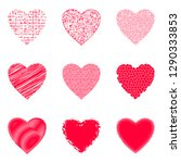 set of valentine hearts with... | Shutterstock .eps vector #1290333853